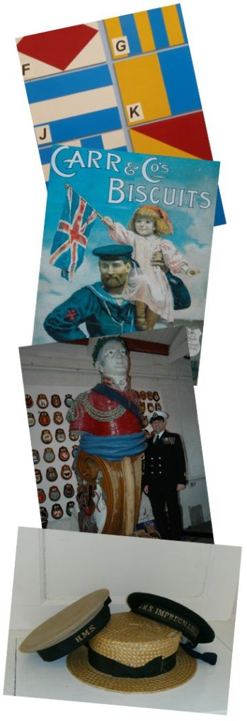 naval hats, semaphore flags, figurehead,